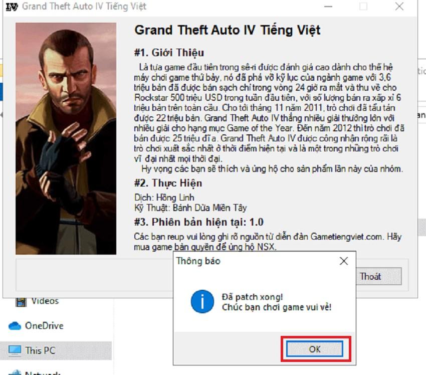 Nhấn OK để xác nhận cài đặt thành công bản Việt hóa GTA 4