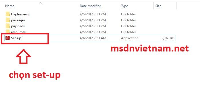 Vào file setup